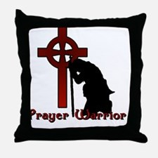 Prayer Knight Red Throw Pillow