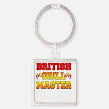 British Grill Master Dark Apron Square Keychain