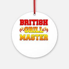 British Grill Master Dark Apron Round Ornament