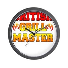 British Grill Master Dark Apron Wall Clock