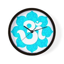 Om Sanskrit in lotus baby blue Wall Clock