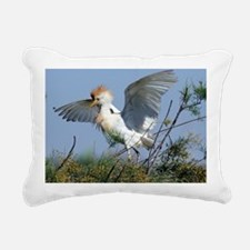 Cattle egret in breeding Rectangular Canvas Pillow