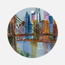 Brooklyn Bridge Bathroom Round Ornament