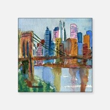 "Brooklyn Bridge Bathroom Square Sticker 3"" x 3"""