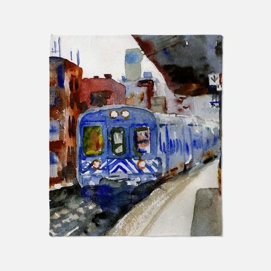 NYC Blue Train Bathroom Throw Blanket
