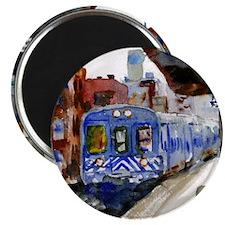 NYC Blue Train Bathroom Magnet
