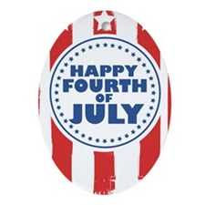 Happy Fourth of July Oval Ornament