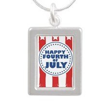 Happy Fourth of July Silver Portrait Necklace