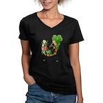 Irish Luck Women's V-Neck Dark T-Shirt