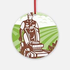 Gardener Landscaper Riding Lawn Mow Round Ornament