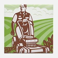 Gardener Landscaper Riding Lawn Mower Tile Coaster