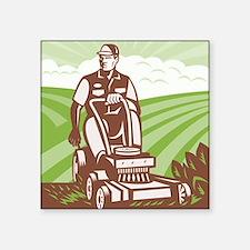 "Gardener Landscaper Riding  Square Sticker 3"" x 3"""