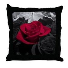 Red rose pop color Throw Pillow