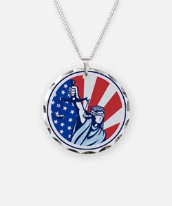 American Lady Holding Scales Necklace