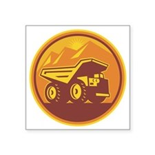 "Mining Dump Truck Retro Square Sticker 3"" x 3"""
