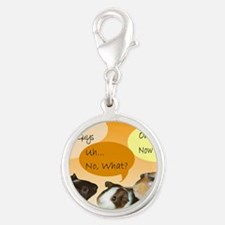 Piggy Greeting Card Silver Round Charm