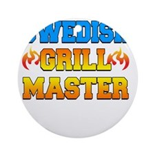Swedish Grill Master Dark Apron Round Ornament