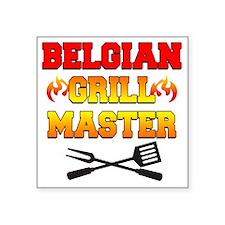 "Belgian Grill Master Apron Square Sticker 3"" x 3"""