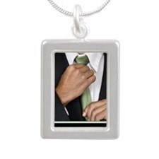 Large Vertical Suit Up P Silver Portrait Necklace