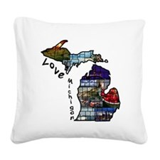 Love Michigan Square Canvas Pillow