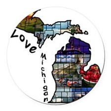 Love Michigan Round Car Magnet