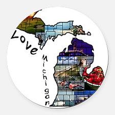 Love Michigan Round Car Magnet
