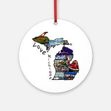 Love Michigan Round Ornament