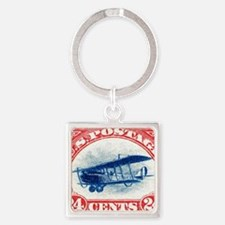 1918 US Stamp Curtiss Biplane  Square Keychain