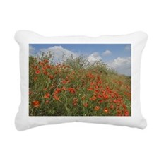Red Poppies with Spring  Rectangular Canvas Pillow