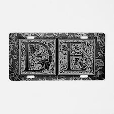 DE initials. Vintage, Flora Aluminum License Plate