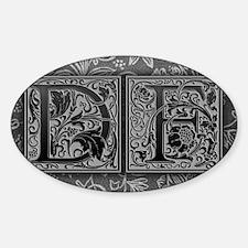 DF initials. Vintage, Floral Decal