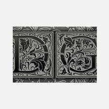 DG initials. Vintage, Floral Rectangle Magnet