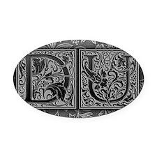 DU initials. Vintage, Floral Oval Car Magnet
