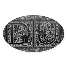 DU initials. Vintage, Floral Decal