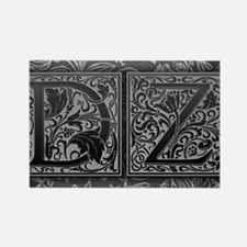 DZ initials. Vintage, Floral Rectangle Magnet