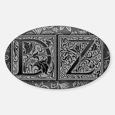 DZ initials. Vintage, Floral Decal