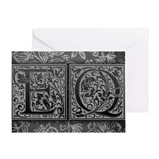 EQ initials. Vintage, Floral Greeting Card