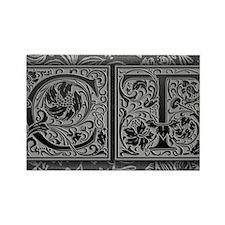 CT initials. Vintage, Floral Rectangle Magnet