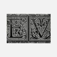 EV initials. Vintage, Floral Rectangle Magnet