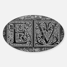 EV initials. Vintage, Floral Decal