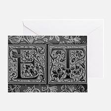 ET initials. Vintage, Floral Greeting Card