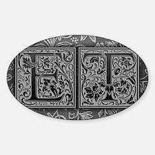 ET initials. Vintage, Floral Sticker (Oval)
