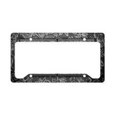 FI initials. Vintage, Floral License Plate Holder
