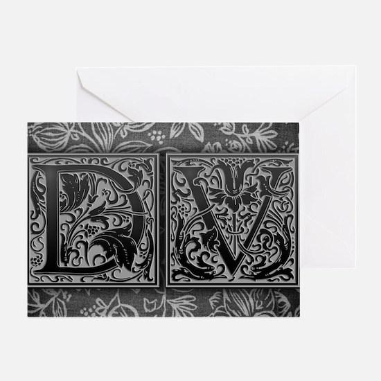 DV initials. Vintage, Floral Greeting Card