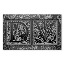 DV initials. Vintage, Floral Decal