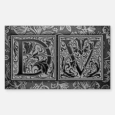 DV initials. Vintage, Floral Decal