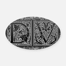 DV initials. Vintage, Floral Oval Car Magnet