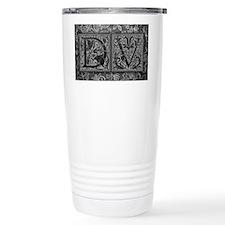 DV initials. Vintage, Floral Travel Mug