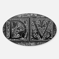 DV initials. Vintage, Floral Sticker (Oval)