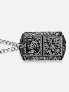 DV initials. Vintage, Floral Dog Tags